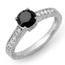 Beautiful 1.00 Carat Black & White Diamond Engagement Ring Made in White Gold