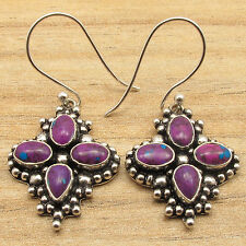 Purple Copper Turquoise Fashion Earrings 925 Silver Plated Jewelry ! Sparkling