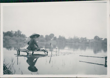 Burma, Fisherman on the Victoria Lake  Vintage silver print.  Tirage argentiqu