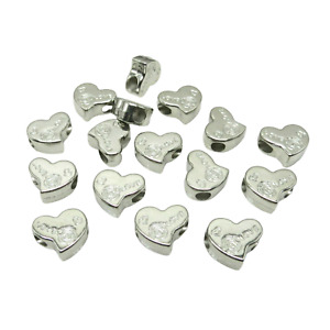 NEW 10PCS 14MM SILVER HEART SHAPED LARGE HOLE ACRYLIC BEADS FOR JEWELLERY MAKING