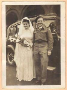 BRITISH PALESTINE? ROYAL AIR FORCE SERVICEMAN WEDDING PHOTO YIDDISH TEXT  1944