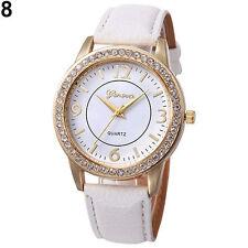 Ladies Fashion Geneva Quartz Gold Tone Rhinestone Leather Band Wrist Watch.