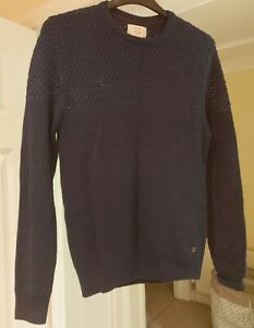 Mens Vintage George Jumper Knitted Sweater Size Small Navy Blue