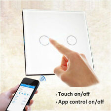 2 Gang 1 Way Wifi Smart Wall Light Switch Touch Panel Work with Amazon AC90