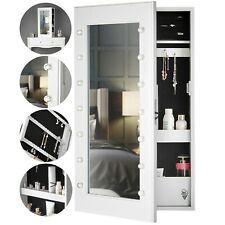 White Jewellery Cabinet Mirror LED Lights Desktop Wall Mounted Bedroom Storage