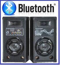 COPPIA CASSE ACUSTICHE AMPLIFICATE ATTIVE KARAOKE 200W LED + BLUETOOTH + USB