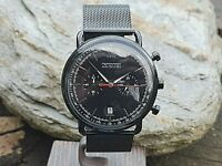 Black Skmei Chronograph Military Watch Trench Style Case Mesh Strap