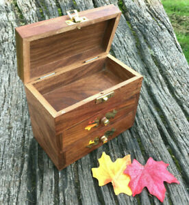 Small wooden dolphin jewellery box with drawers & brass detail