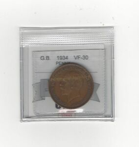 1934 Great Britain, One Penny, Coin Mart Graded **VF-30**