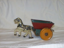 Vintage Litho Tin Wind Up Horse and Cart