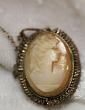 Hand Carved Cameo Necklace - Antique -  Silver Bullion