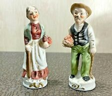 Old Man /& Old Woman Porcelain Art Sculpture Hand Painted Farmer Couple Walking Stick Pipe Basket of Fish Vintage Figurines Collectible