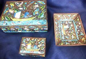 Chinese Repousse Enamel Box Set