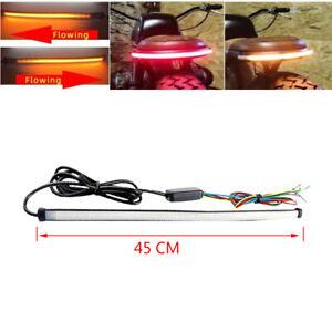 45CM Car Motorcycle Bike Brake Rear Tail Light Strip Sft Dynamic Bar Turn Signal