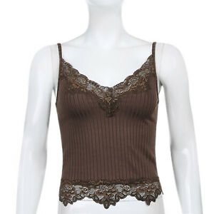 Damen Camisole Spitze Patchwork Crop Top Y2k E Girl Cami Geripptes Strick #S