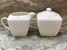 Roscher Cream And Sugar Set White Basket Weave New
