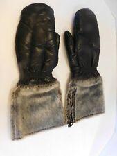 Men's Wolverine Snowmobile Ski Fur Gauntlet Leather Mittens Gloves Size Med
