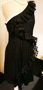 pretty little thing dress uk 10 - 12 women's black one shoulder ladies party