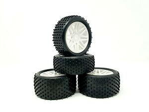 UK 12MM 1/10 OFF ROAD BUGGY RC WHEELS & TYRES X4 HSP HPI ACME CONDOR - WHITE