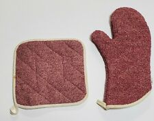 New listing Pre-Owned Pampered Chef Cranberry Oven Mitt and Oven Pad Item 1329 and 1346 Euc
