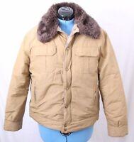 Woolrich Vtg Wool Lined Fur Zip Snap Up Bomber Flight USA Jacket Coat Women's L
