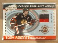 2001-02 Pacific Atomic Game Worn Jerseys ~ Tony Amonte #8 patch 35/403 Card