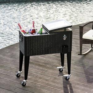 Outdoor Patio Wicker Rattan 80qt Rolling Cooler Cart Yard Ice Beverage Portable