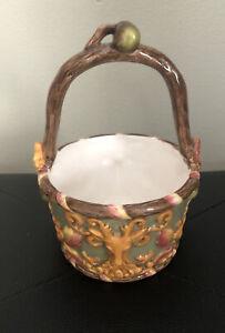 Vintage Christina Ladas For Silvestre Ceramic Basket/Candy Dish-Woodland Design