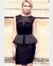 BNWT🌹LIPSY VIP🌹Size 6 Black Peplum Beaded / Embellished Mesh Dress XS  £160