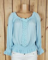 PLANET GOLD Womens Jr Size XL Long Sleeve Shirt Lace Detail Blue Peplum Top