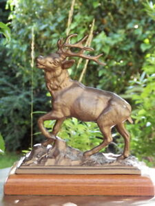 ANTIQUE 19th Century Gilded Spelter FIGURE OF A STAG