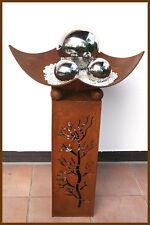 GARTEN SÄULE m. grosser Schale Blumen Metall Deko Patina rost 79 cm ho. *NEU*