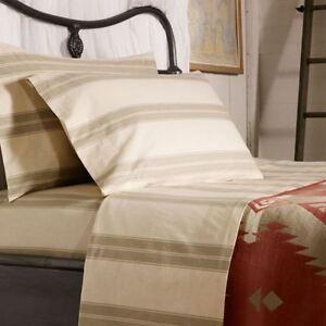 $130 RALPH LAUREN HOME Amagansett FULL FLAT SHEET Further Lane Ticking Tan/Sage