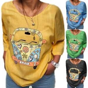 Women Cartoon Floral Long Sleeve Shirt Casual Jersey Basic Tops Blouse Plus Size