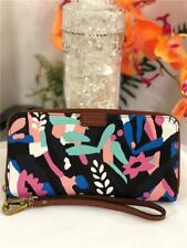 NWOT FOSSIL Emma Navy Floral RFID Zip Around Wallet Clutch with Strap  #SL7199