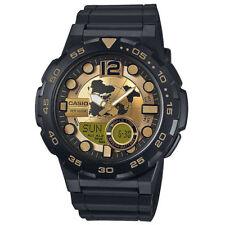 Casio Men's AEQ100BW-9AV Digital Analog Black Resin Gold Dial Sport Watch