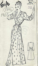 1940s WW2 Vintage Sewing Pattern B38 HOUSE COAT DRESSING GOWN (1374)