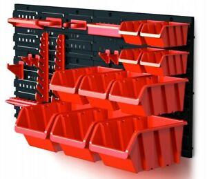 80 x 40 cm Wall Mounted Storage Board Set Garage DIY Tools Rack 10x Organisers