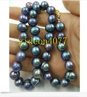 11-12mm tahitian baroque tahitian black green pearl necklace 18inch 14k