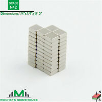 "50-count neodymium N42 NdFeb block magnets 1/4  x 1/4 x 1/10"" (true N42)"
