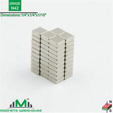 "50-count neodymium N42 NdFeb block magnets 1/4  x 1/4 x 1/10"" (true N42)"