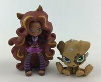 Monster High Clawdeen Wolf Werewolf Vinyl Toy Figure Watzit Pet 2pc Lot Mattel