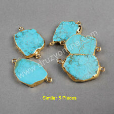 Clearance RANDOM 1 Pcs Howlite Turquoise Slice Connector Gold Plated TG0179