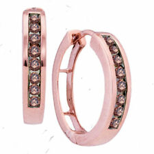 10k Rose Gold Womens Round Brown Color Enhanced Diamond Hoop Earrings 1/2