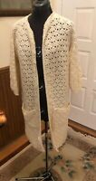 Vintage 70s CROCHET Cream Cardigan Boho Knit DUSTER LONG POCKETS HIPPIE HANDMADE