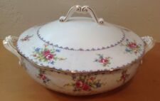 Royal Albert Petit Point Round Covered Vegetable Bowl Needlepoint Floral England