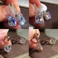 Women's Geometric Zircon Crystal Love Ear Hoop Earrings Drop Dangle Jewelry Hot