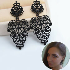 Bohemia Retro Black Hollow Pierced Drop Dangle Ear Cuff Hoop Earrings Jewelry