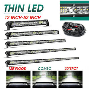 "10"" 20"" 30"" 40'' 50"" Silm LED Light Bar Spot Flood Combo Offroad Driving SUV 4WD"