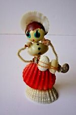 Vintage Novelty Doll PIPE CLEANER & SEA SHELL Lady Playing Guitar
